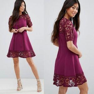 NWT ASOS Purple Premium Lace Insert Mini Dress